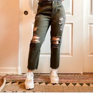 Olive green ripped cropped jeans